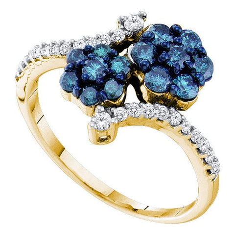 10kt Yellow Gold Womens Round Blue Color Enhanced Natural Diamond Double Flower Cluster Ring 3/4 Cttw