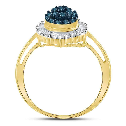10kt Yellow Gold Womens Round Blue Color Enhanced Natural Diamond Framed Cluster Cocktail Ring 1/2 Cttw