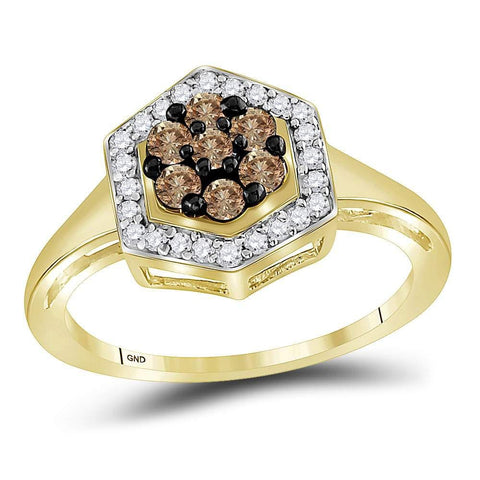 10kt Yellow Gold Womens Round Cognac-brown Color Enhanced Natural Diamond Polygon Cluster Cocktail Ring 1/2 Cttw