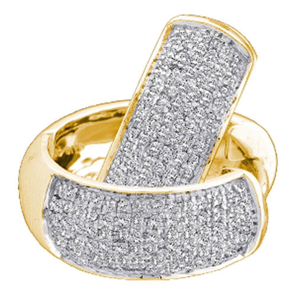 10kt Yellow Gold Womens Round Pave-set Diamond Huggie Hoop Earrings 1/2 Cttw