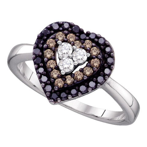 14kt White Gold Womens Round Black Color Enhanced Diamond Heart Love Ring 1/2 Cttw