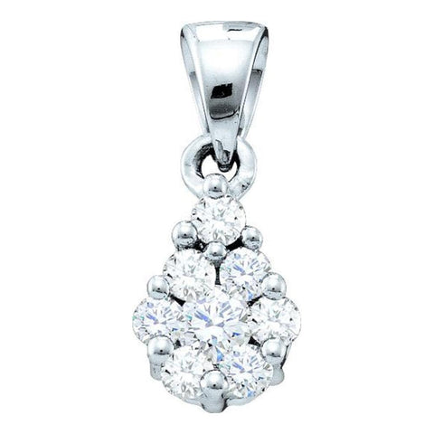 14kt White Gold Womens Round Diamond Flower Cluster Pendant 1/6 Cttw