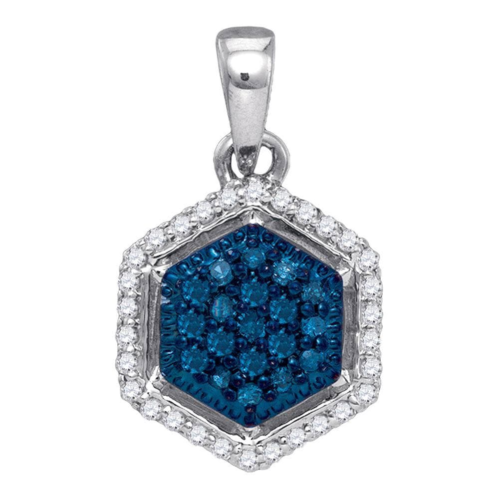 10kt White Gold Womens Round Blue Color Enhanced Diamond Hexagon Cluster Pendant 1/5 Cttw