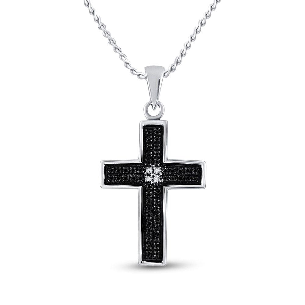 Sterling Silver Womens Round Black Color Enhanced Diamond Christian Cross Pendant 1/6 Cttw