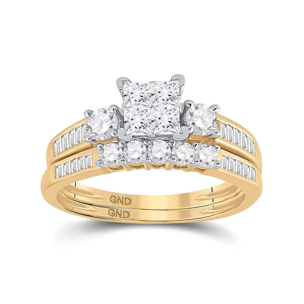 10kt Yellow Gold Princess Diamond Bridal Weddding Engagement Ring Band Set 1 Cttw Size