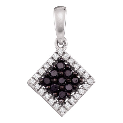 10kt White Gold Womens Round Black Color Enhanced Diamond Diagonal Square Frame Pendant 1/3 Cttw