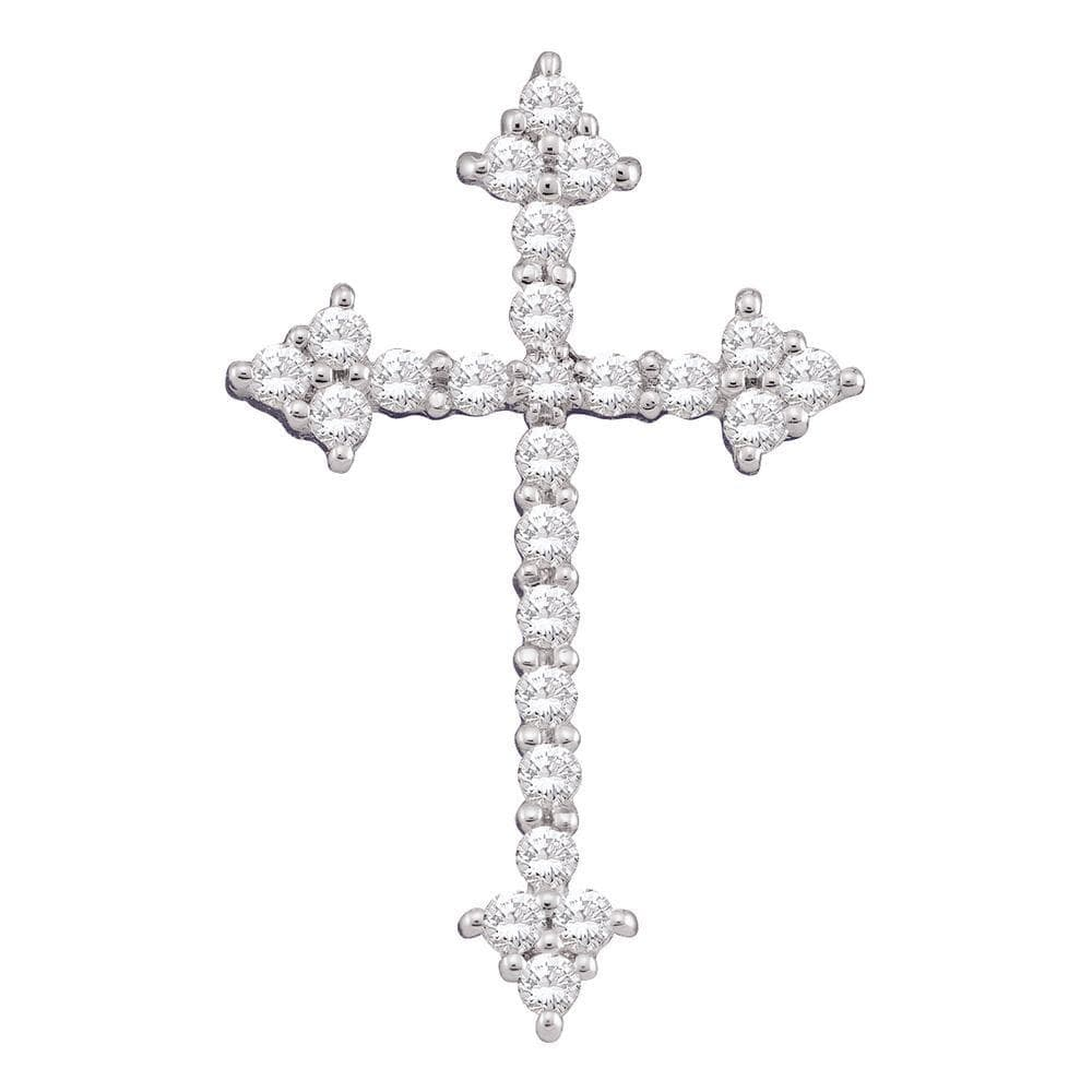 10kt White Gold Womens Round Diamond Pointed Cross Crucifix Faith Pendant 1/4 Cttw