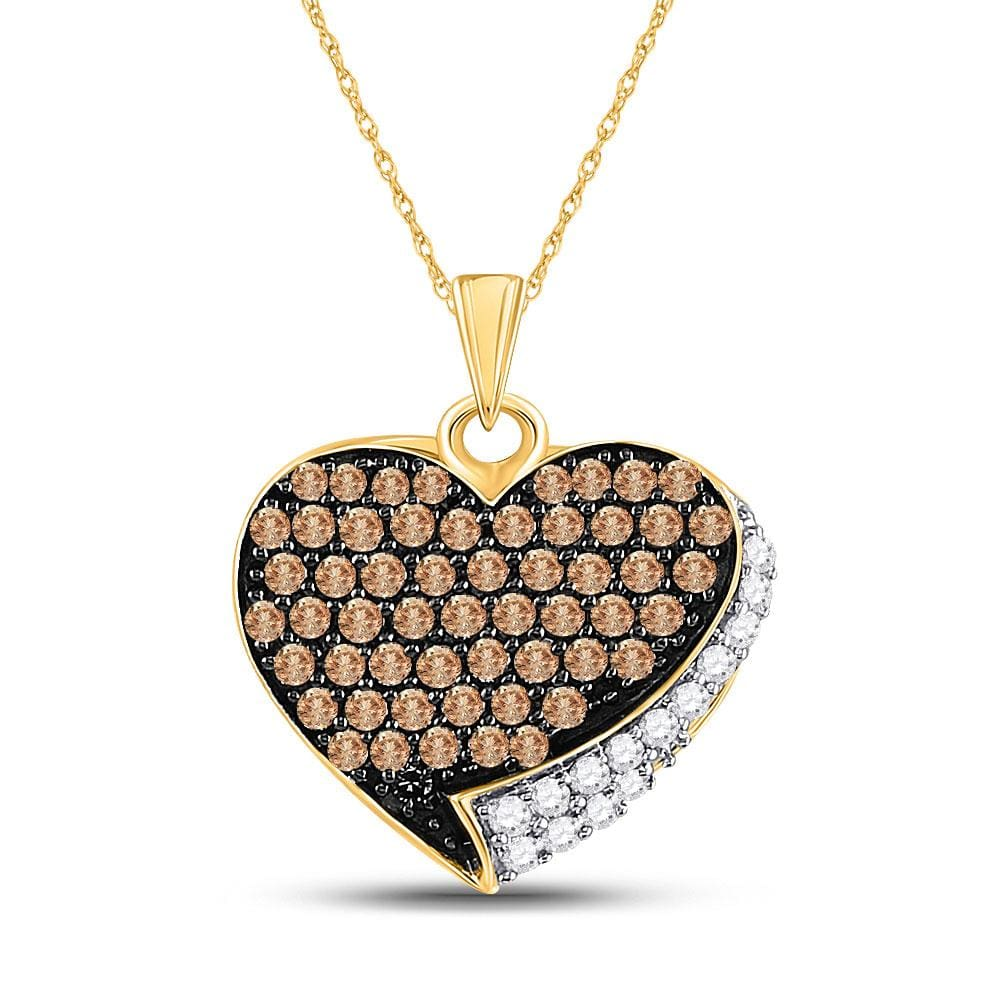 10kt Yellow Gold Womens Round Cognac-brown Color Enhanced Diamond Heart Love Pendant 7/8 Cttw