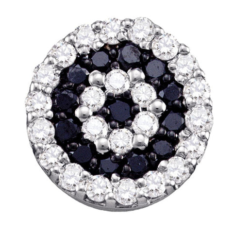 10kt White Gold Womens Round Black Color Enhanced Diamond Concentric Cluster Pendant 1/4 Cttw