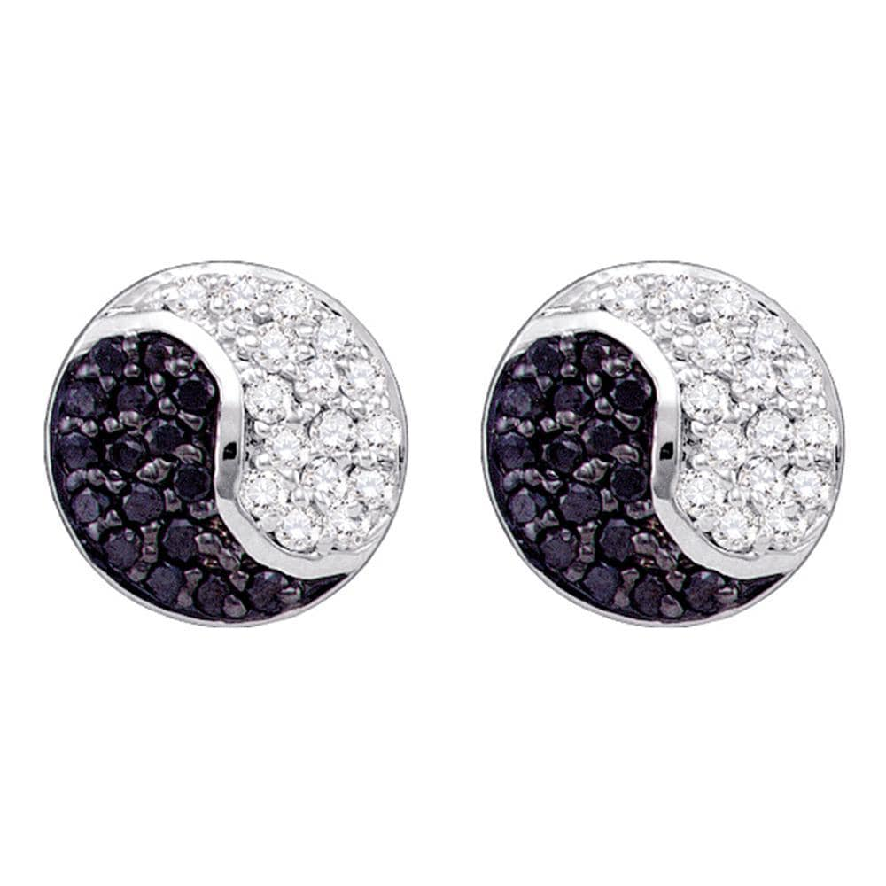 10k White Gold Black Color Enhanced Diamond Cluster Ying Yang Unisex Mens Screwback Stud Earrings 1/3 Cttw