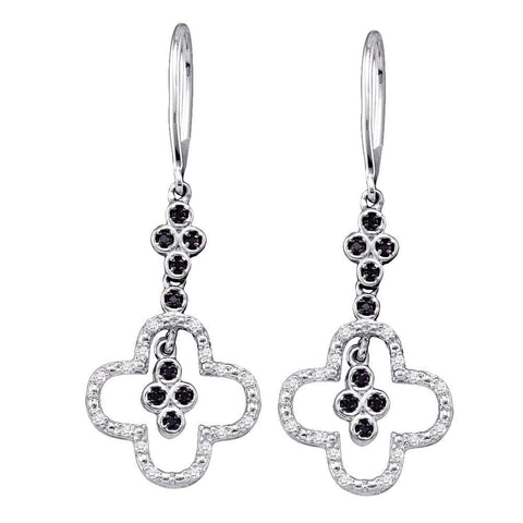 10k White Gold Black Color Enhanced Diamond Womens Cluster Wire Dangle Ear-wire Earrings 1/6 Cttw