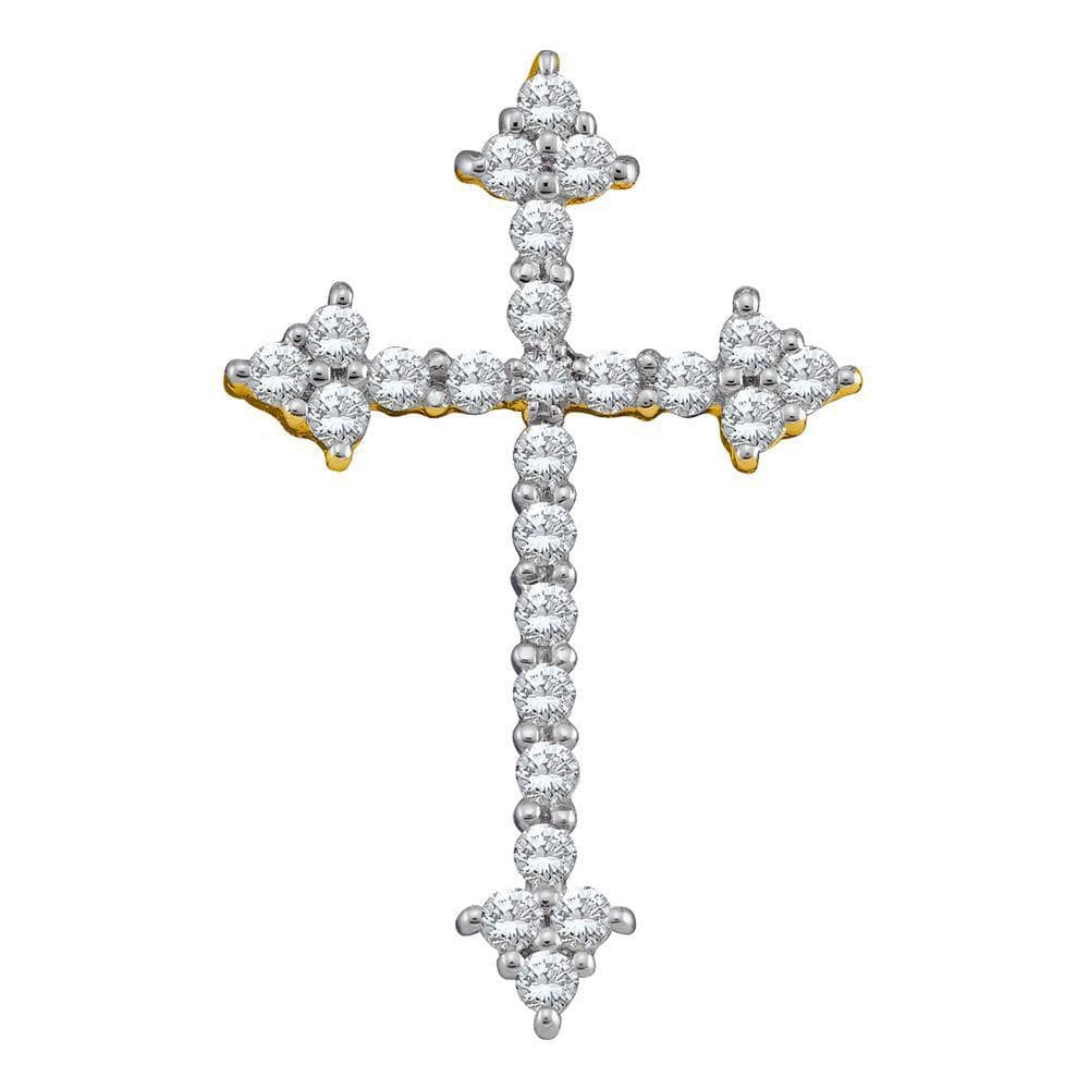 10kt Yellow Gold Womens Round Diamond Pointed Cross Crucifix Faith Pendant 1/4 Cttw