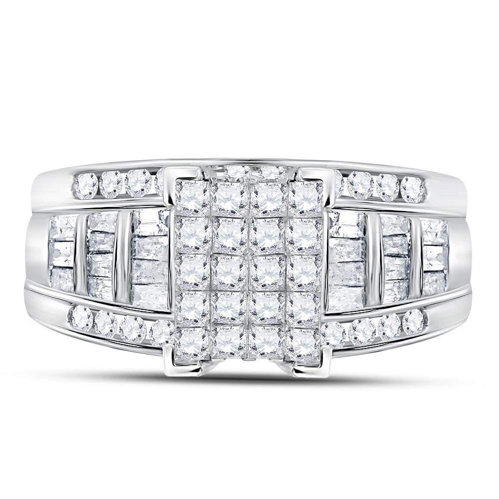 14kt White Gold Womens Princess Diamond Cluster Bridal Wedding Engagement Ring 1.00 Cttw - Size 11