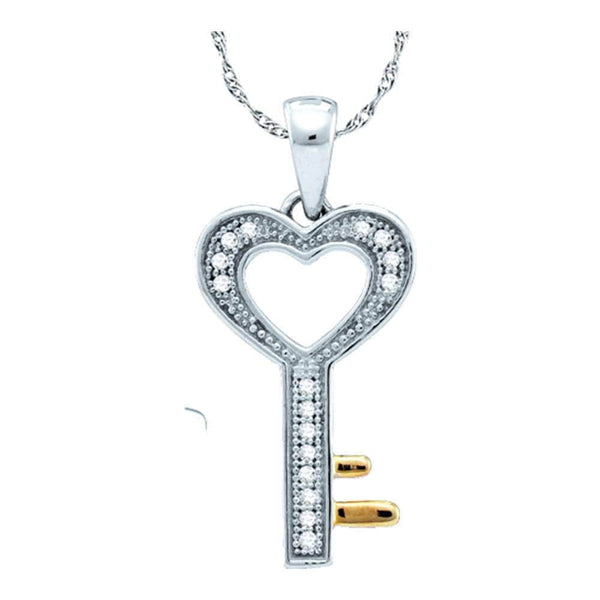 Sterling Silver Womens Round Diamond Heart Key Love Pendant 1/20 Cttw