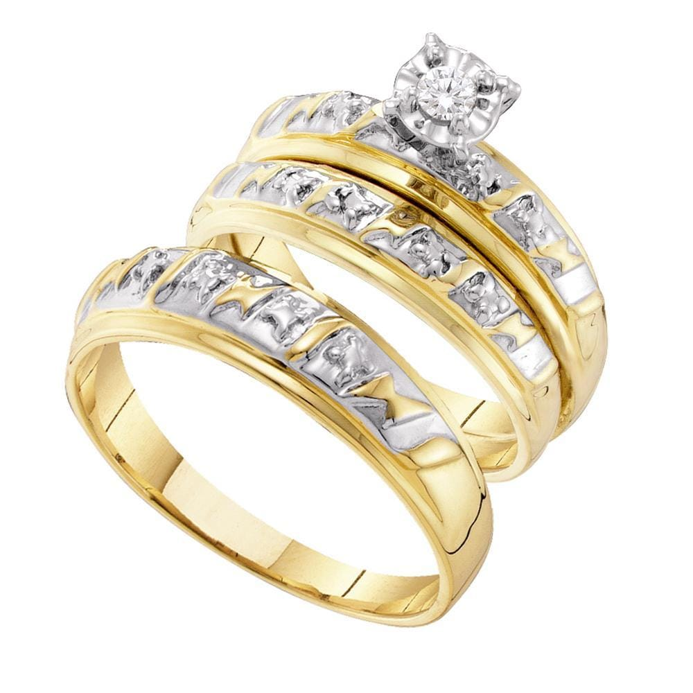 14kt Two-tone Gold His & Hers Round Diamond Solitaire Matching Bridal Wedding Ring Band Set 1/12 Cttw
