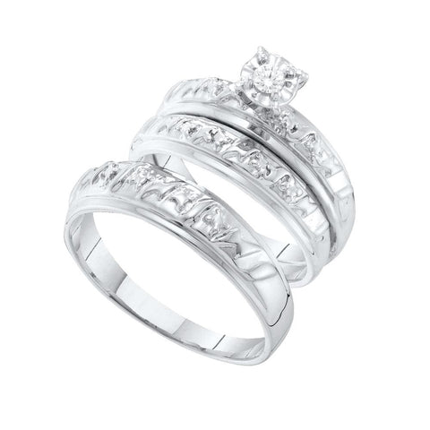14kt White Gold His & Hers Round Diamond Solitaire Matching Bridal Wedding Ring Band Set 1/12 Cttw