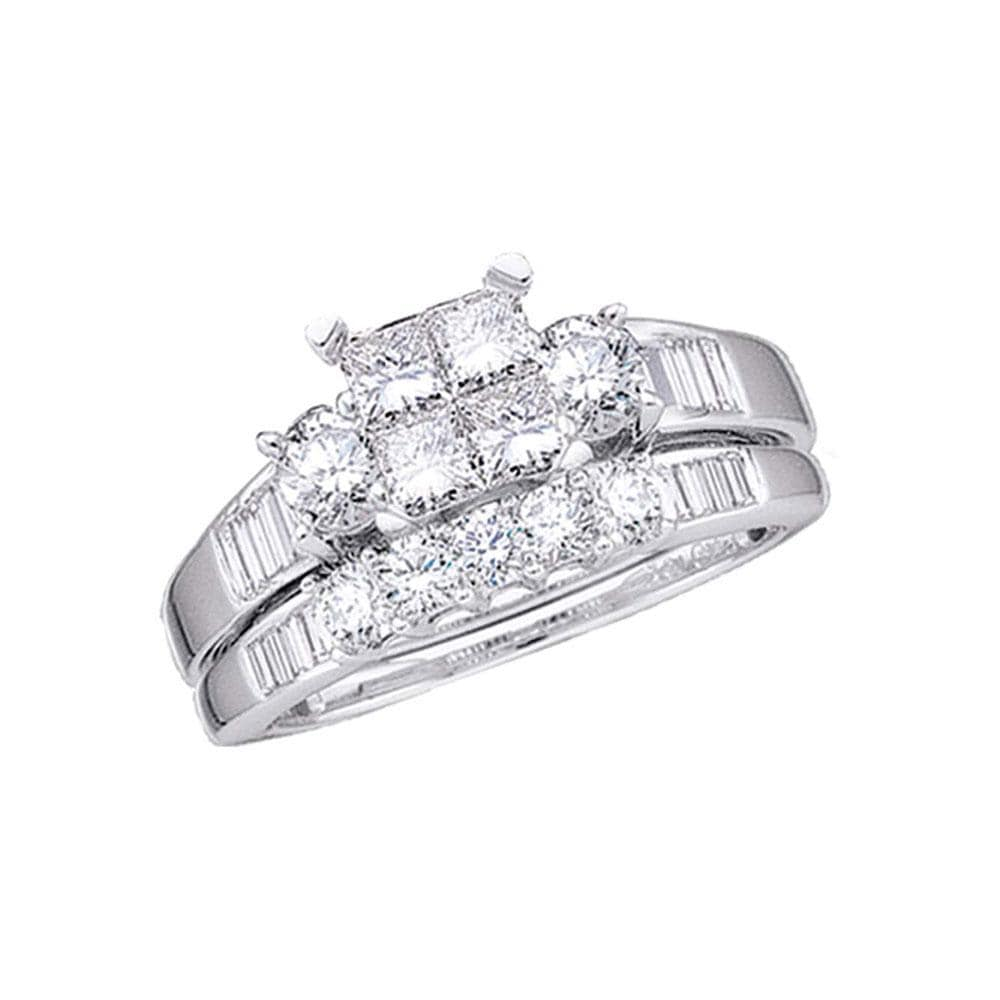 10kt White Gold Princess Diamond Bridal Wedding Ring Band Set 1 Cttw Size
