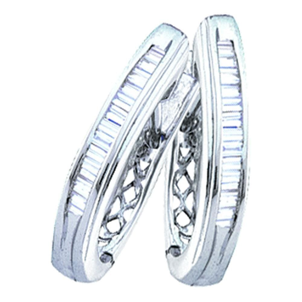 Sterling Silver Womens Baguette Diamond Hoop Earrings 3/8 Cttw