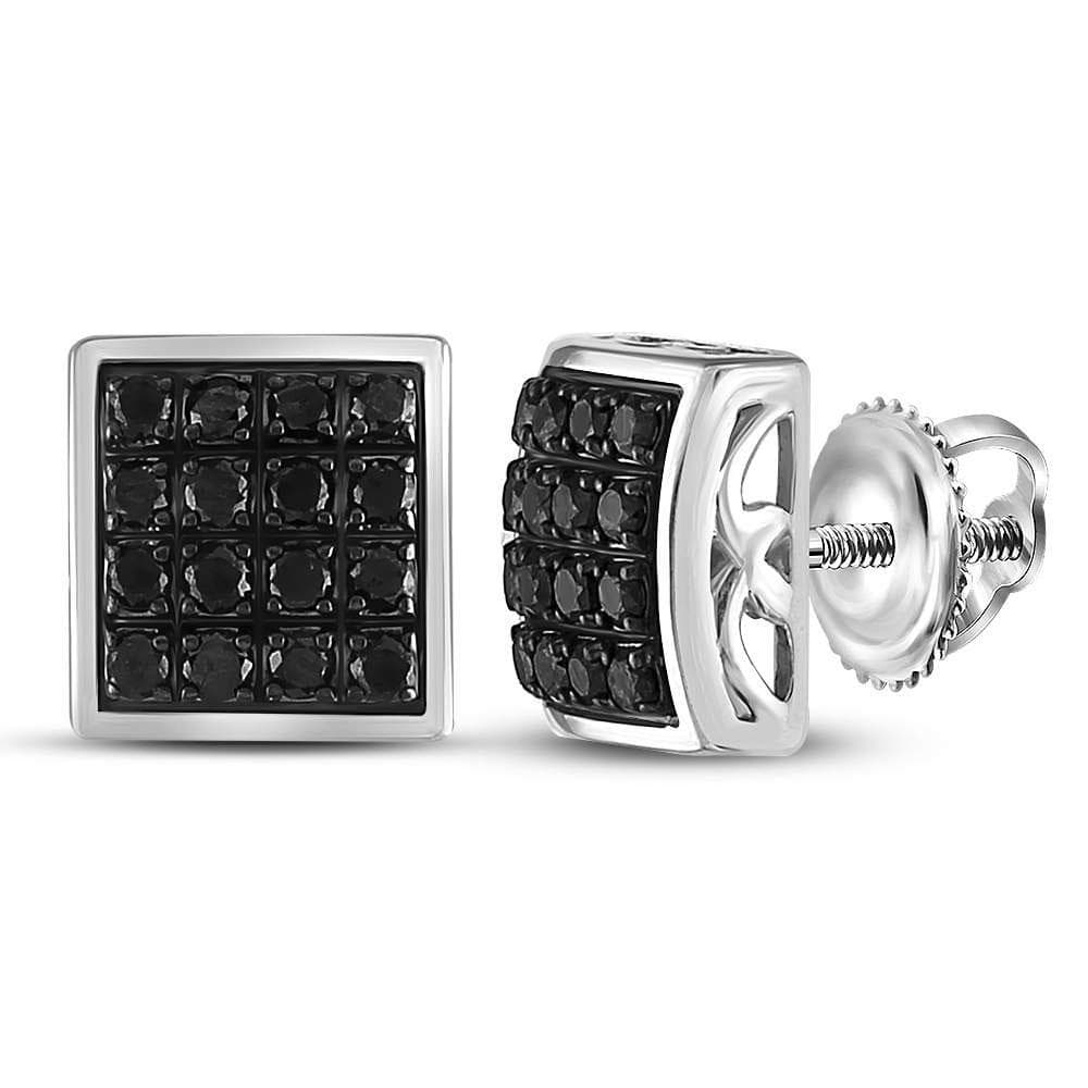 Sterling Silver Mens Round Black Color Enhanced Diamond Square Cluster Earrings 5/8 Cttw