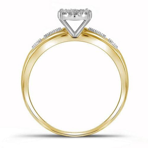 10kt Yellow Gold Womens Round Diamond Bridal Wedding Engagement Ring Band Set 1/5 Cttw