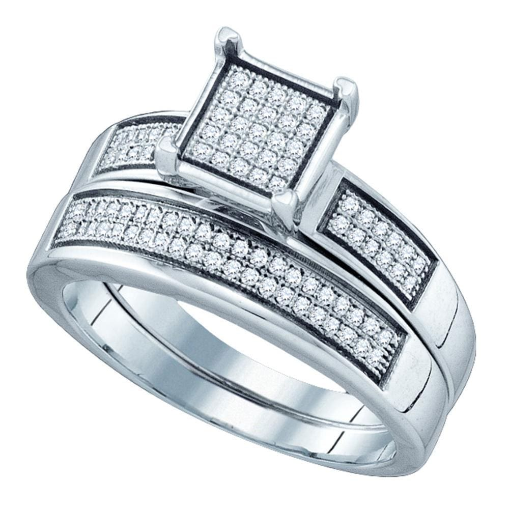 Sterling Silver Womens Round Diamond Square Bridal Wedding Engagement Ring Band Set 1/4 Cttw