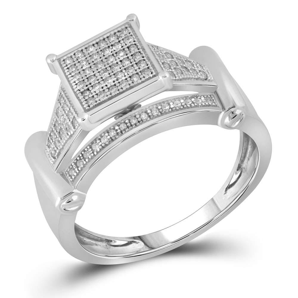 10kt White Gold Womens Round Diamond Elevated Square Cluster Ring 1/4 Cttw