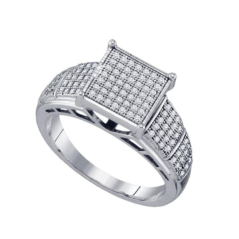 10kt White Gold Womens Round Diamond Elevated Wide Square Cluster Ring 1/3 Cttw