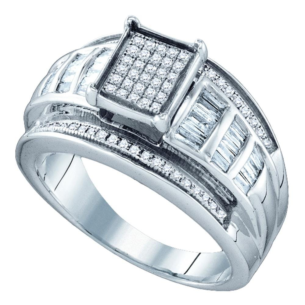Sterling Silver Womens Round Diamond Elevated Square Cluster Bridal Wedding Engagement Ring 1/2 Cttw