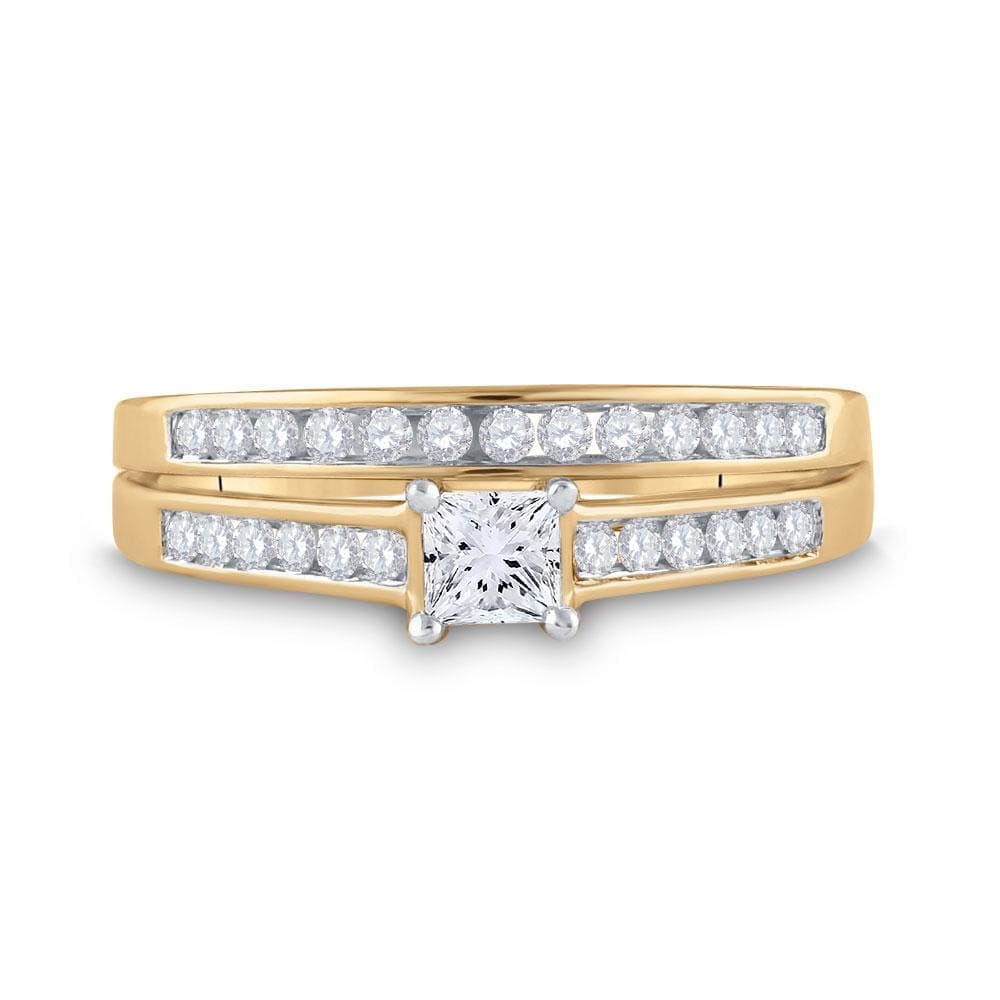 10kt Yellow Gold Princess Diamond Bridal Wedding Ring Band Set 1/2 Cttw