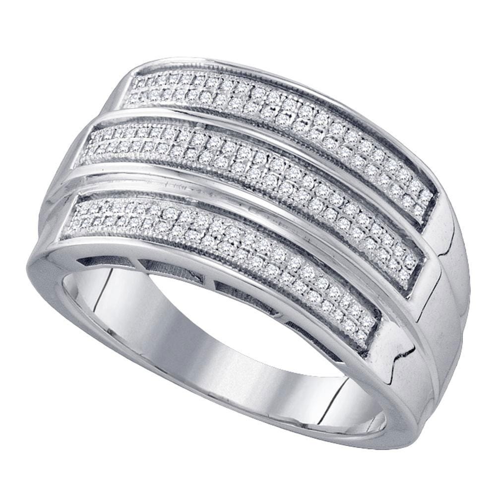 Sterling Silver Mens Round Diamond Triple Row Band Ring 3/ Cttw