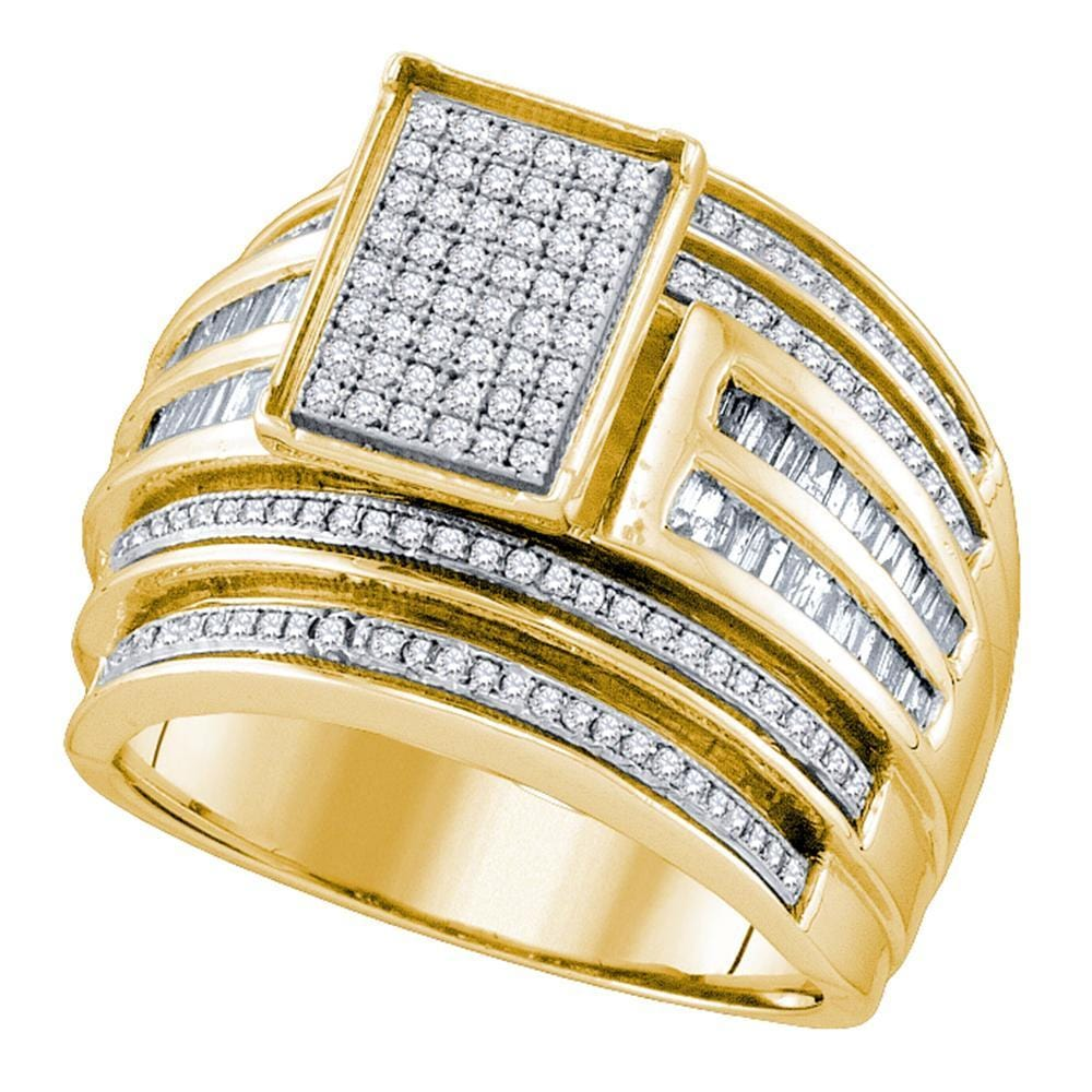 10kt Yellow Gold Womens Round Diamond Rectangle Cluster Bridal Wedding Engagement Ring 7/8 Cttw