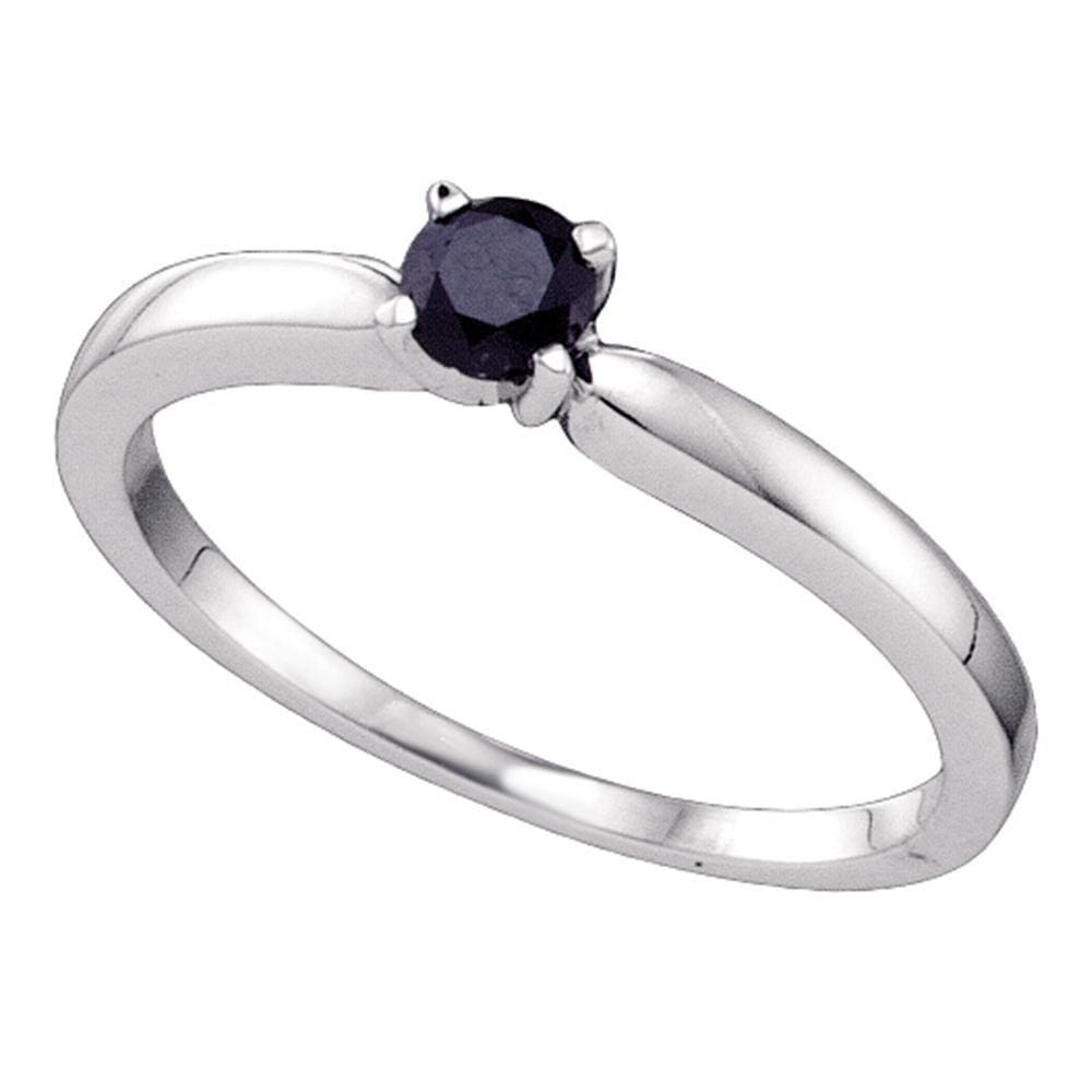 10kt White Gold Round Black Color Enhanced Diamond Solitaire Bridal Engagement Ring 1/4 Cttw