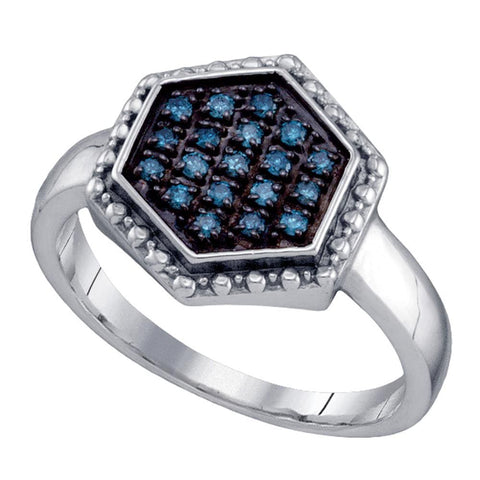 Sterling Silver Womens Round Blue Color Enhanced Diamond Hexagon Cluster Ring 1/5 Cttw