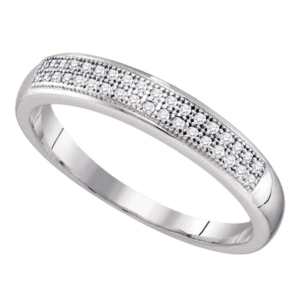 10kt White Gold Womens Round Diamond Pave Band Ring 1/10 Cttw