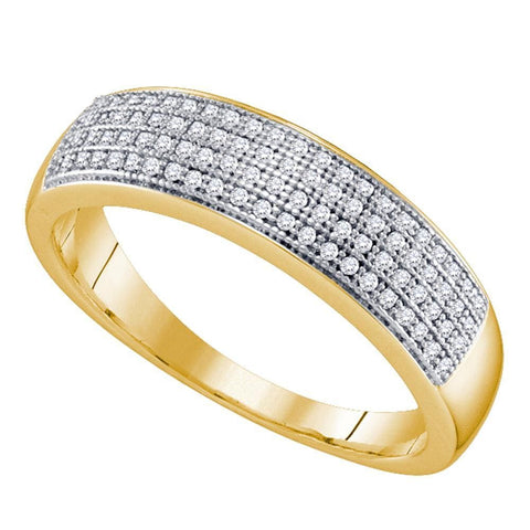 10kt Yellow Gold Mens Round Pave-set Diamond Wedding Band Ring 1/4 Cttw