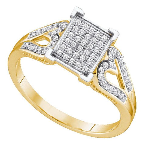 10kt Yellow Gold Womens Round Diamond Square Cluster Heart Ring 1/5 Cttw