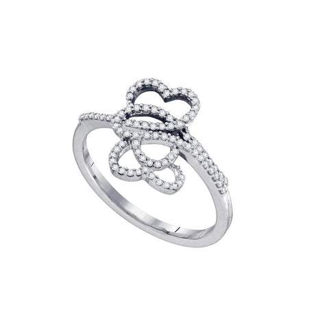 10kt White Gold Womens Round Diamond Slender Double Heart Ring 1/5 Cttw