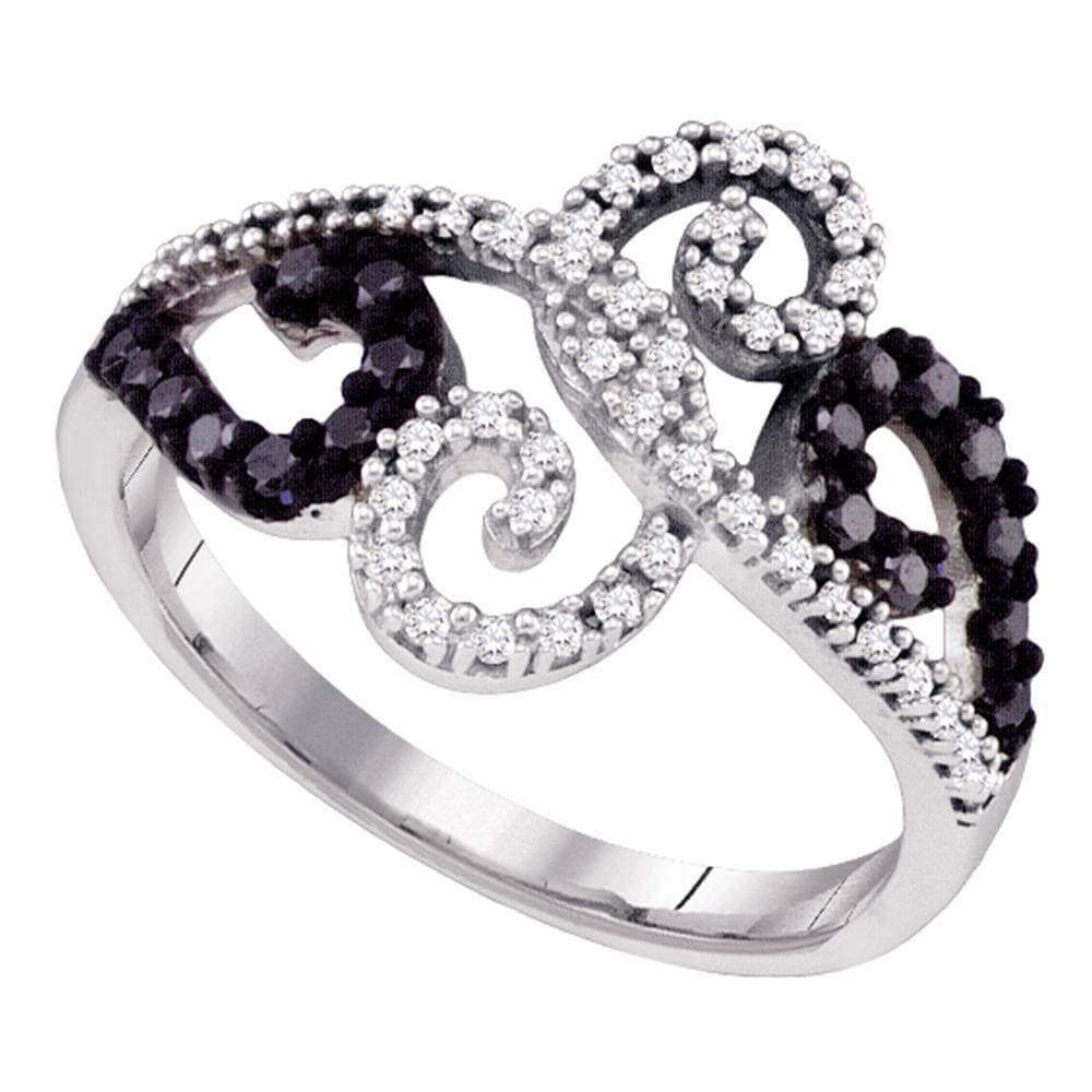 10k White Gold Black Color Enhanced Diamond Womens Whimsical Swirled Cocktail Ring 1/3 Cttw