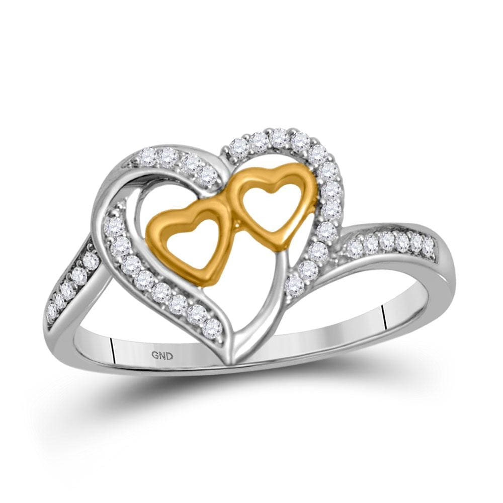 10kt White Gold Womens Round Diamond Triple Heart Ring 1/8 Cttw