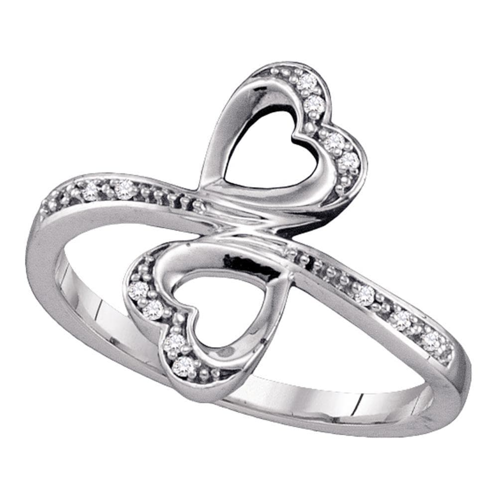 10kt White Gold Womens Round Diamond Double Heart Bypass Ring 1/20 Cttw