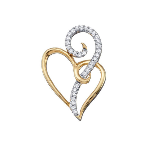 10kt Yellow Gold Womens Round Diamond Curled Double Heart Pendant 1/10 Cttw