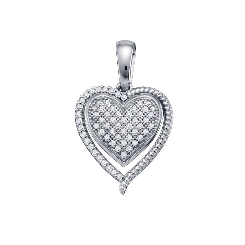 10kt White Gold Womens Round Diamond Framed Heart Cluster Pendant 1/5 Cttw