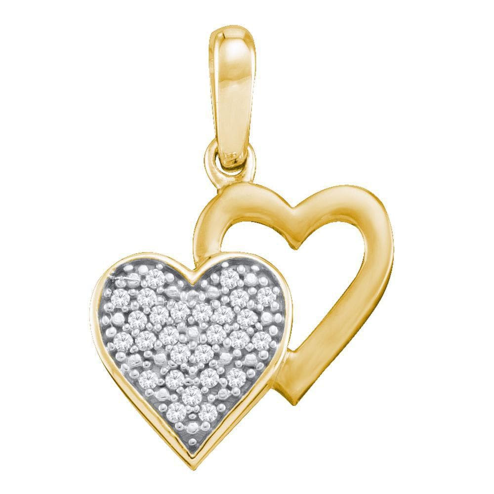 10kt Yellow Gold Womens Round Diamond Double Heart Pendant 1/12 Cttw