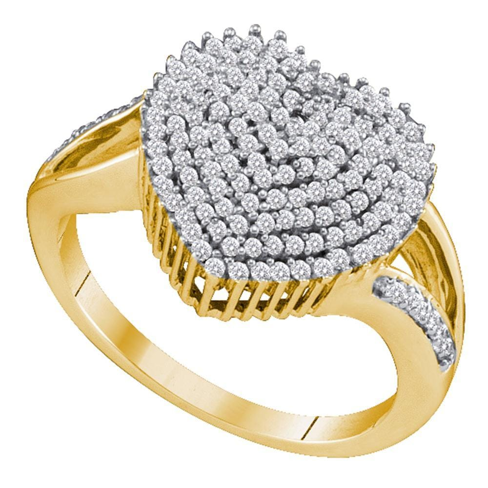 10kt Yellow Gold Womens Round Diamond Heart Love Cluster Ring 1/2 Cttw