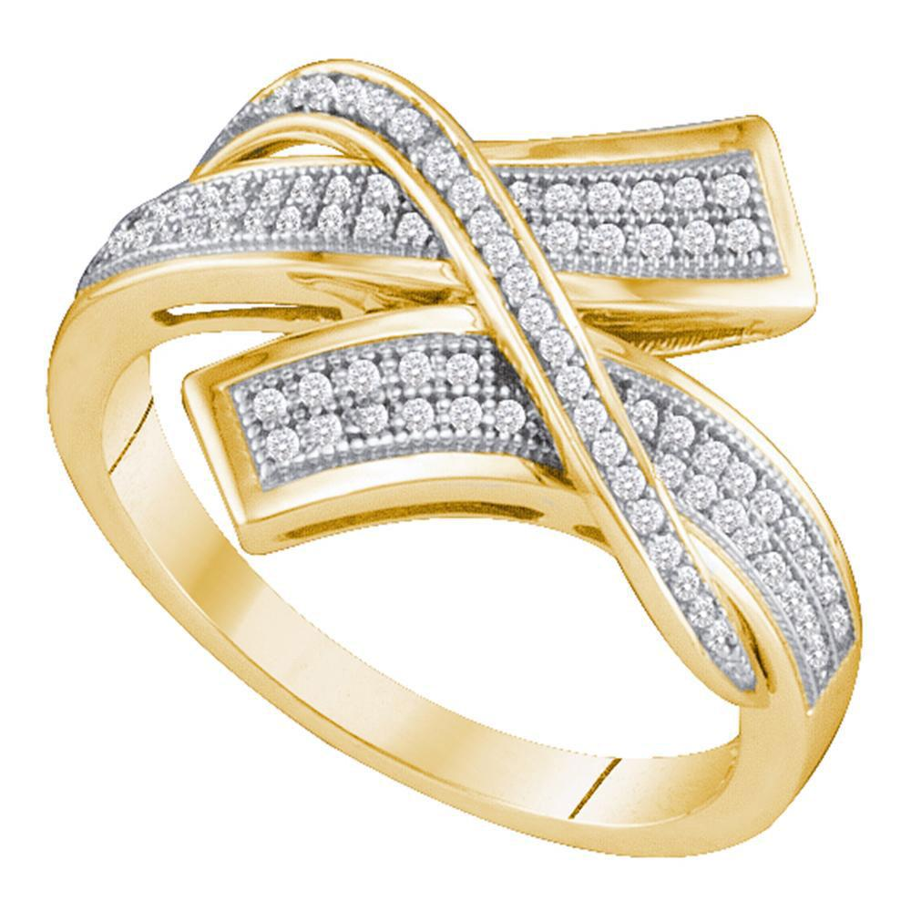 10kt Yellow Gold Womens Round Pave-set Diamond Crossover Bypass Band 1/4 Cttw