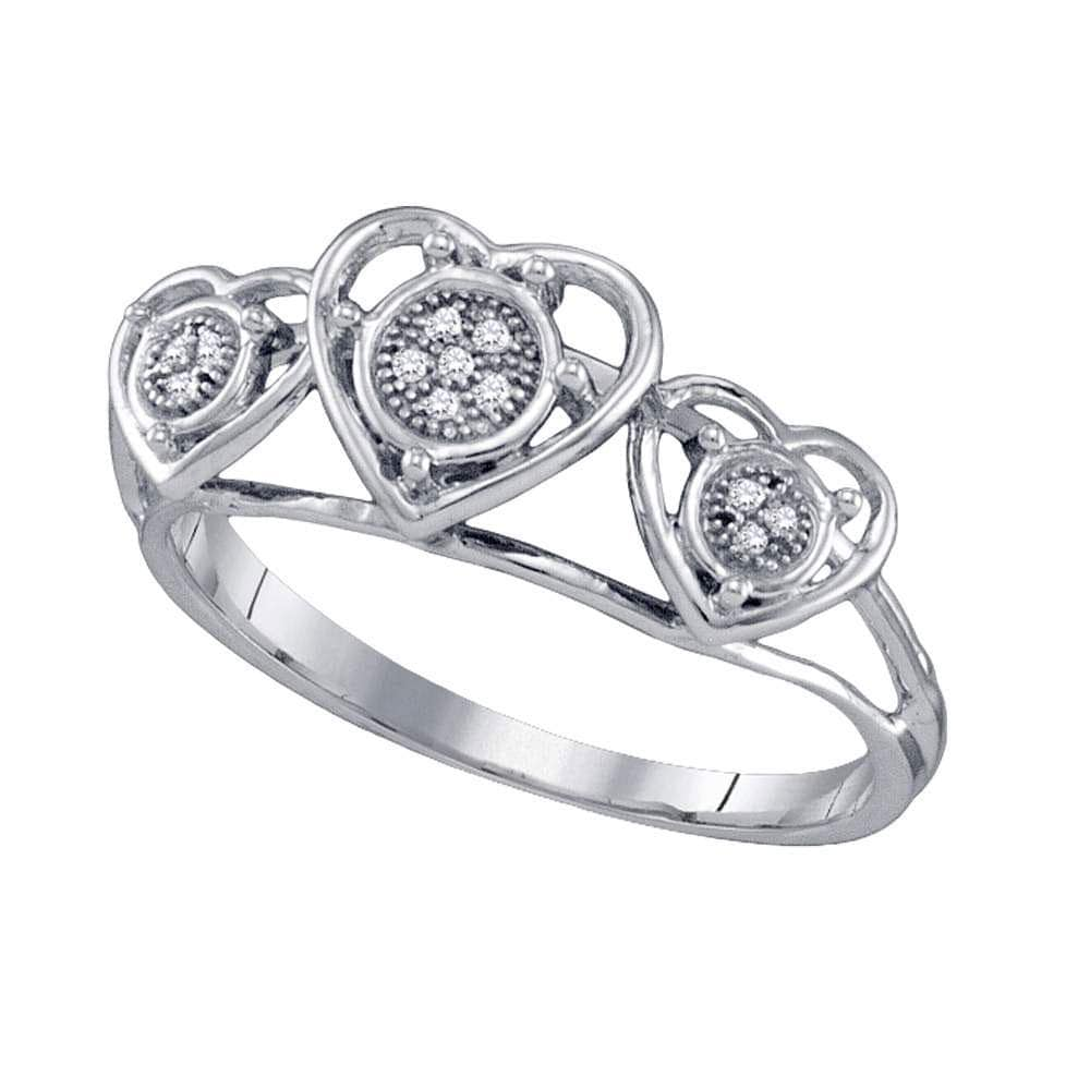 10kt White Gold Womens Round Diamond Triple Heart Cluster Ring .03 Cttw