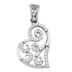 10kt White Gold Womens Round Diamond Whimsical Heart Curled Pendant 1/6 Cttw