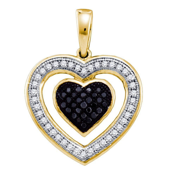 10kt Yellow Gold Womens Round Black Color Enhanced Diamond Framed Heart Pendant 1/5 Cttw