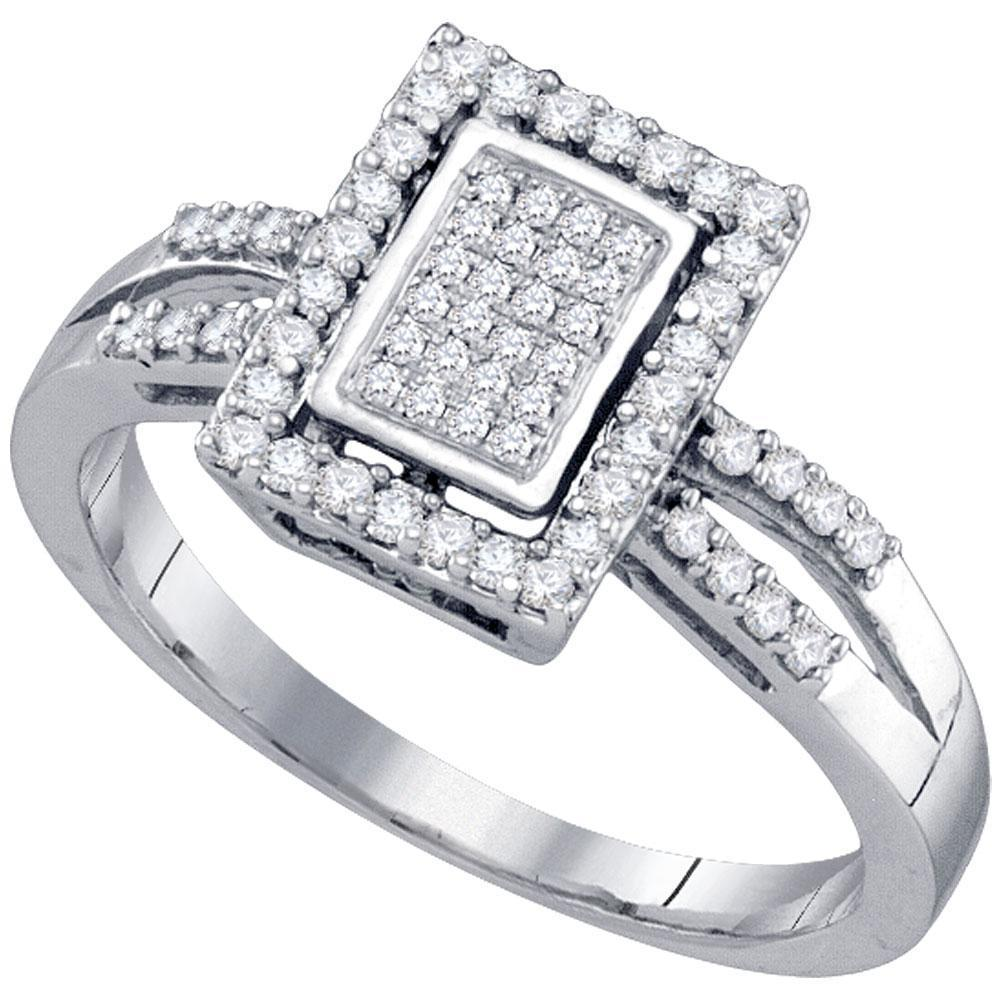 10kt White Gold Womens Round Diamond Rectangle Frame Cluster Ring 1/3 Cttw