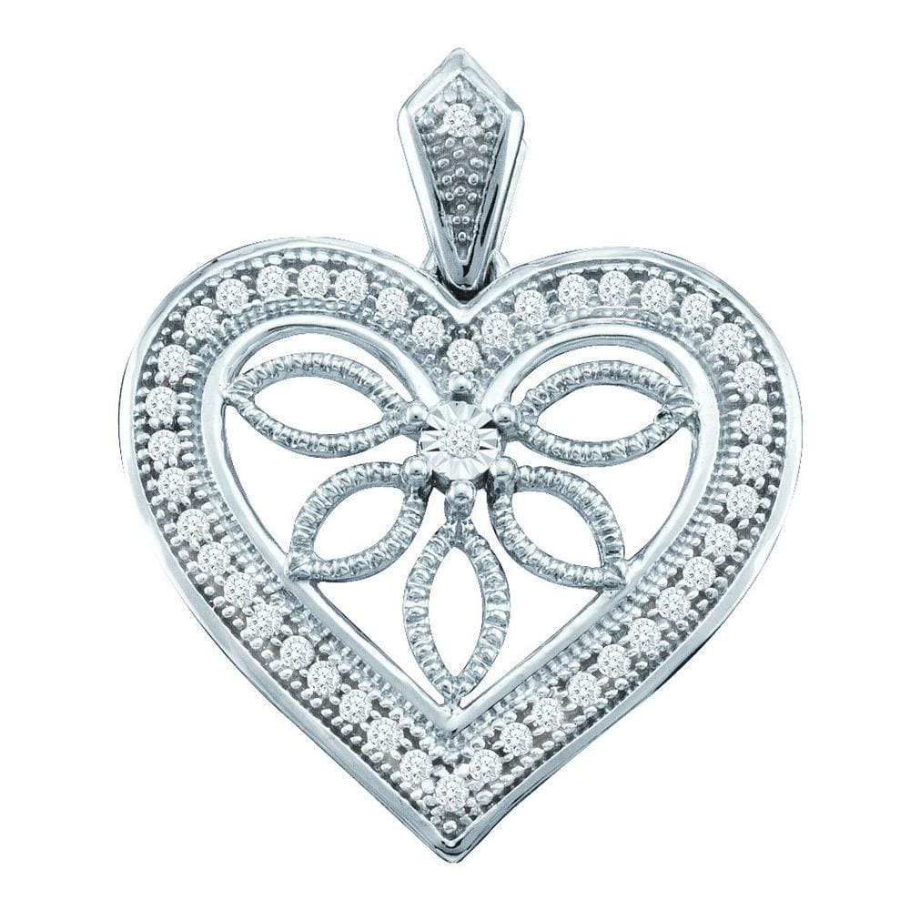 10kt White Gold Womens Round Diamond Vintage-style Heart Outline Pendant 1/10 Cttw